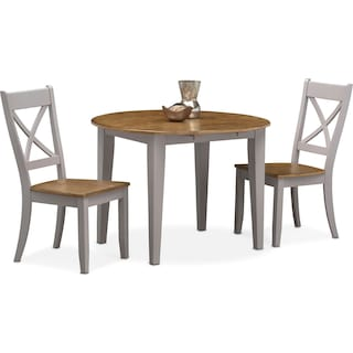 Nantucket Drop-Leaf Dining Table and 2 Dining Chairs - Oak and Gray