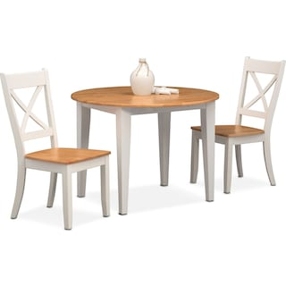 Nantucket Drop-Leaf Table and 2 Side Chairs - Maple and White