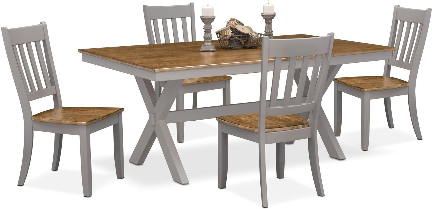 Nantucket Trestle Table and 4 Slat Back Chairs Oak and  : 506178 from www.americansignaturefurniture.com size 1500 x 727 jpeg 108kB