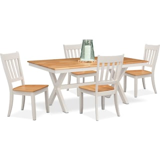 Nantucket Trestle Table and 4 Slat-Back Chairs - Maple and White
