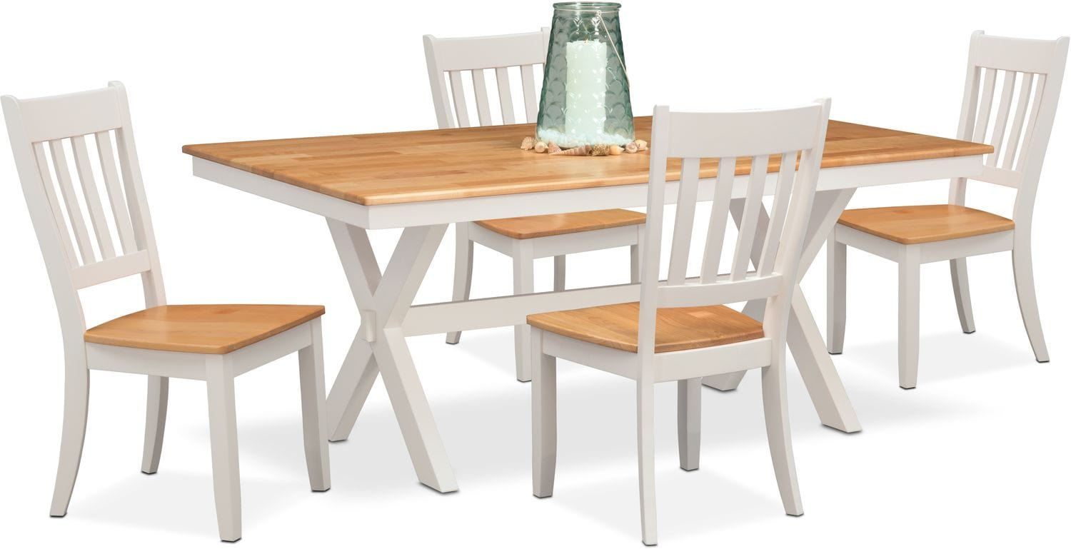 $599.95 Nantucket Trestle Table And 4 Slat Back Chairs   Maple And White