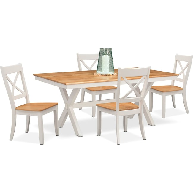 Dining Room Furniture - Nantucket Trestle Table and 4 Side Chairs - Maple and White