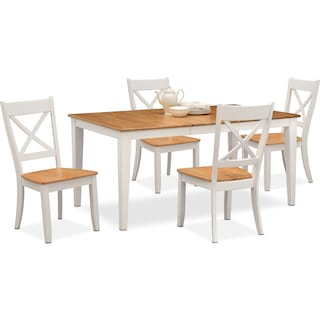 Nantucket Table and 4 Side Chairs - Maple and White
