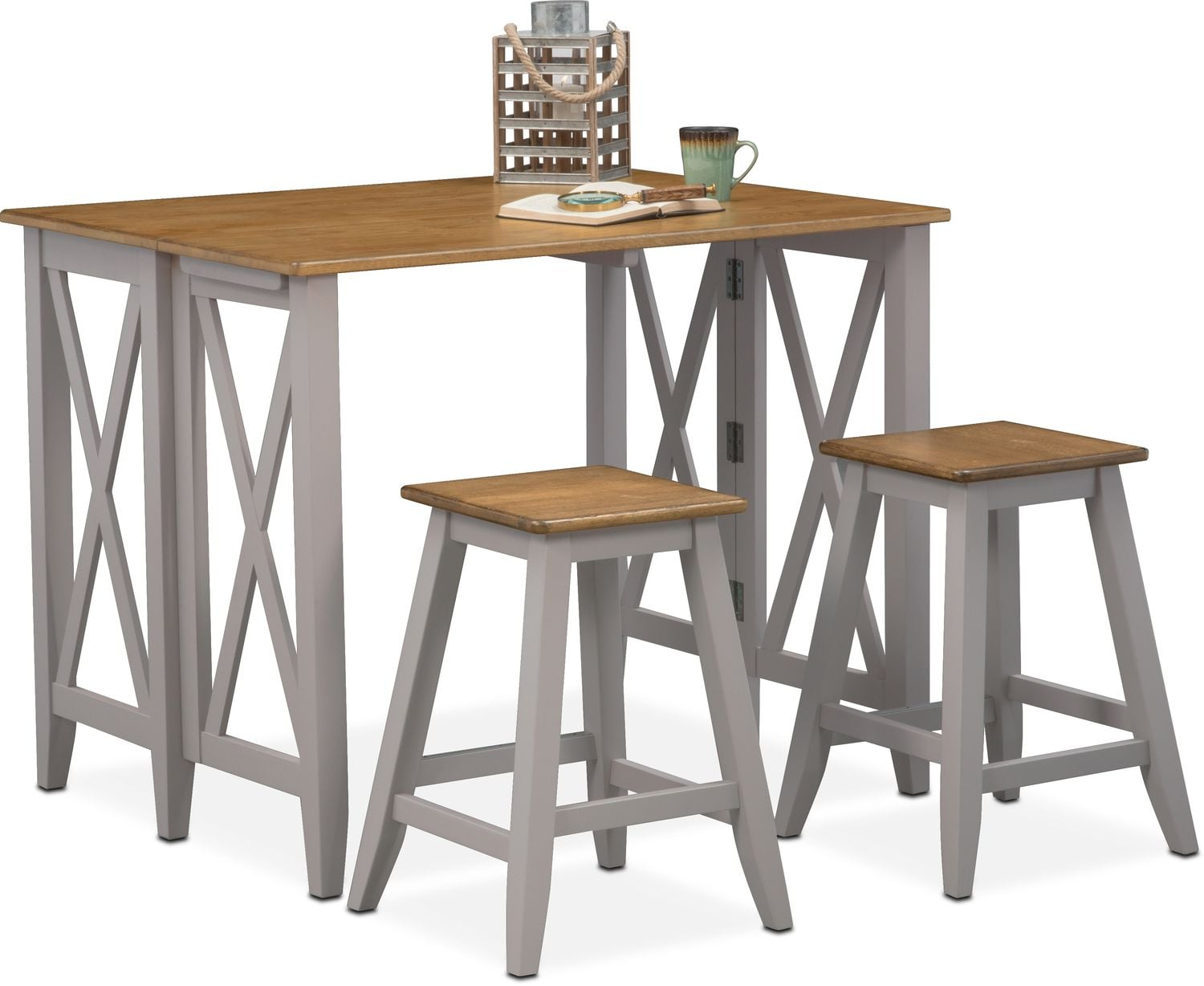 Nantucket breakfast bar and 2 counter height stools oak and gray american signature furniture - Breakfast table and stools ...