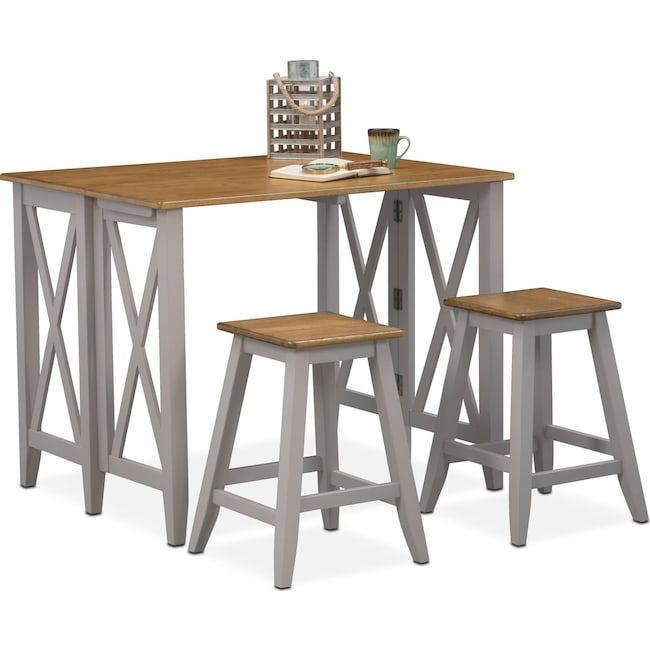 Dining Room Furniture - Nantucket Breakfast Bar and 2 Counter-Height Stools - Oak and Gray