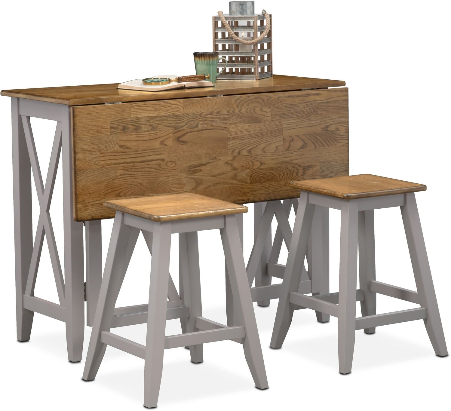 Nantucket Breakfast Bar And 2 Counter Height Stools Oak