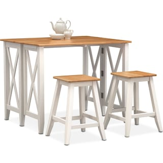 Nantucket Breakfast Bar and 2 Counter-Height Stools - Maple and White