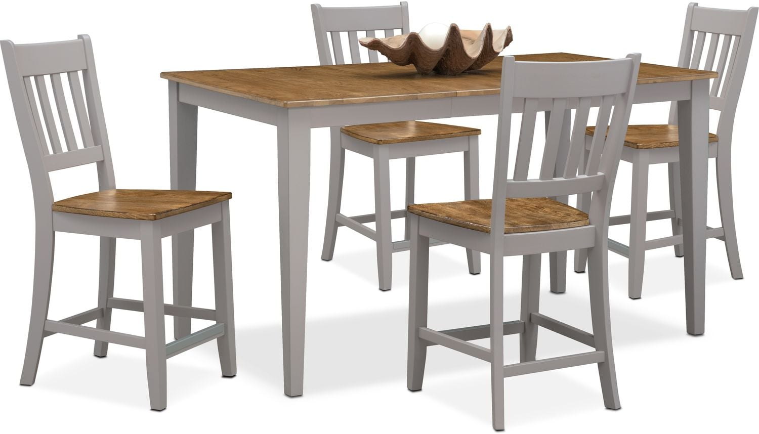 nantucket counter height table and 4 slat back chairs oak and gray american signature furniture. Black Bedroom Furniture Sets. Home Design Ideas