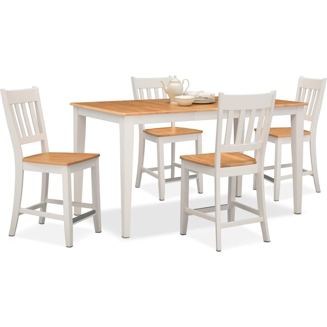 Dining Room Furniture - Nantucket Counter-Height Table and 4 Slat-Back Chairs - Maple and White
