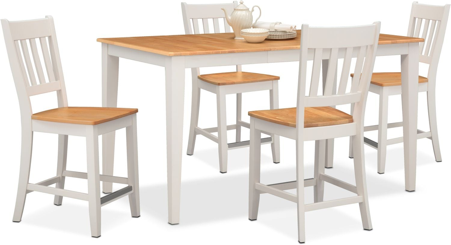 Dining Room Furniture   Nantucket Counter Height Table And 4 Slat Back  Chairs