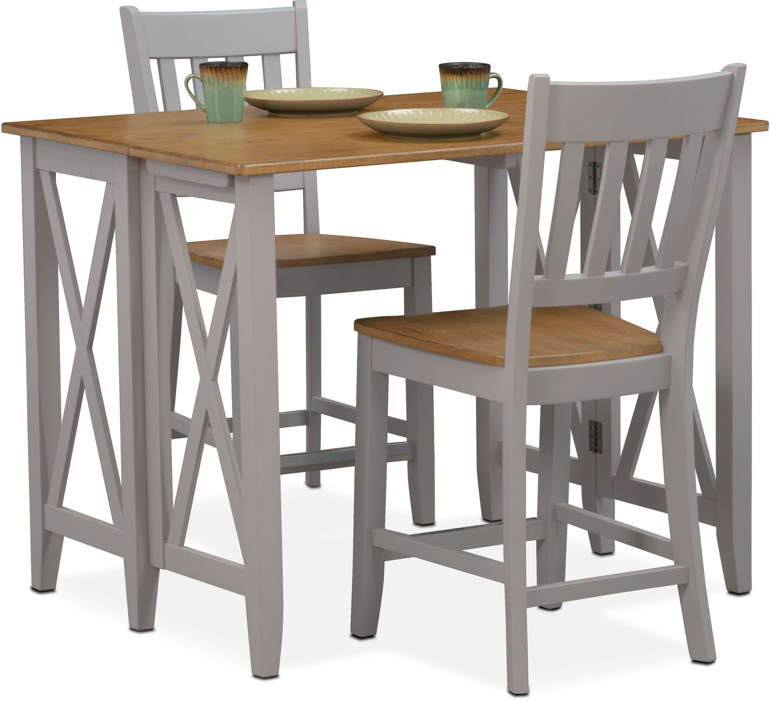 Nantucket Breakfast Bar And 2 Counter Height Slat Back Chairs Oak And Gray American