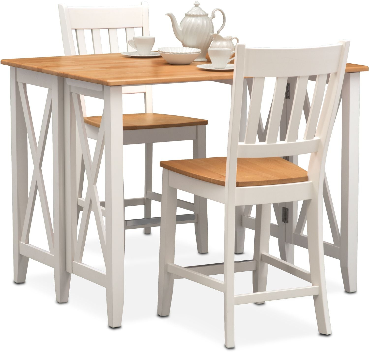 Nantucket Breakfast Bar And 2 Counter Height Slat Back Chairs Maple And Whi