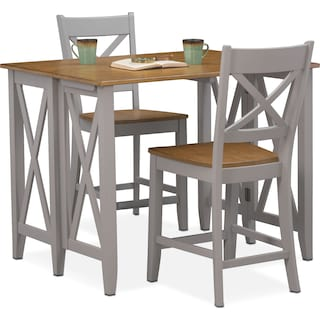 Nantucket Breakfast Bar and 2 Counter-Height Side Chairs - Oak and Gray