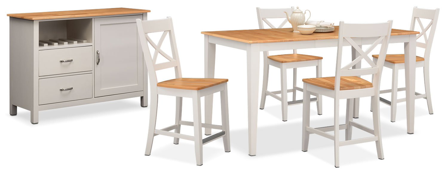 The Nantucket Counter-Height Dining Collection - Maple and White