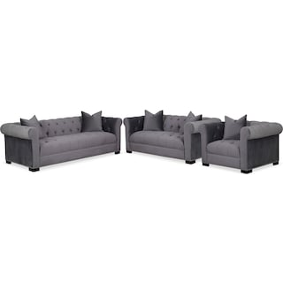 Couture Sofa, Apartment Sofa and Chair Set - Gray