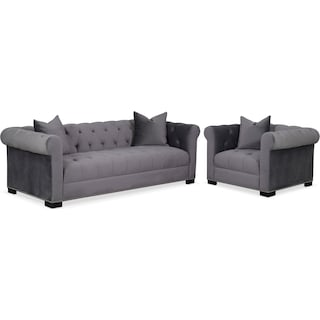 Couture Sofa and Chair Set - Gray