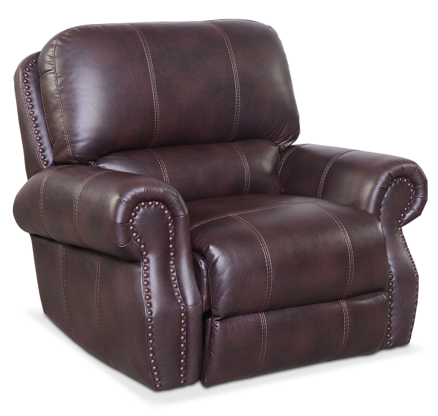 Living Room Furniture - Dartmouth Power Recliner - Burgundy