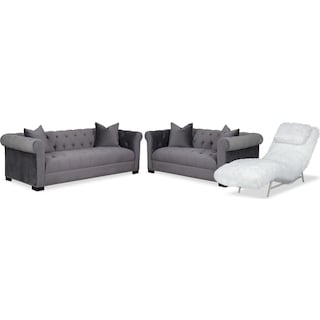 Couture Sofa, Apartment Sofa and Chaise Set - Gray and White