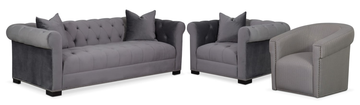 Couture Sofa, Chair and Swivel Chair Set - Gray