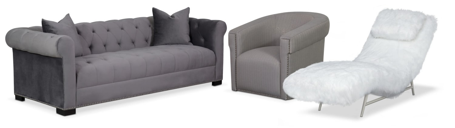 Couture Sofa, Chaise and Swivel Chair Set - Gray and White