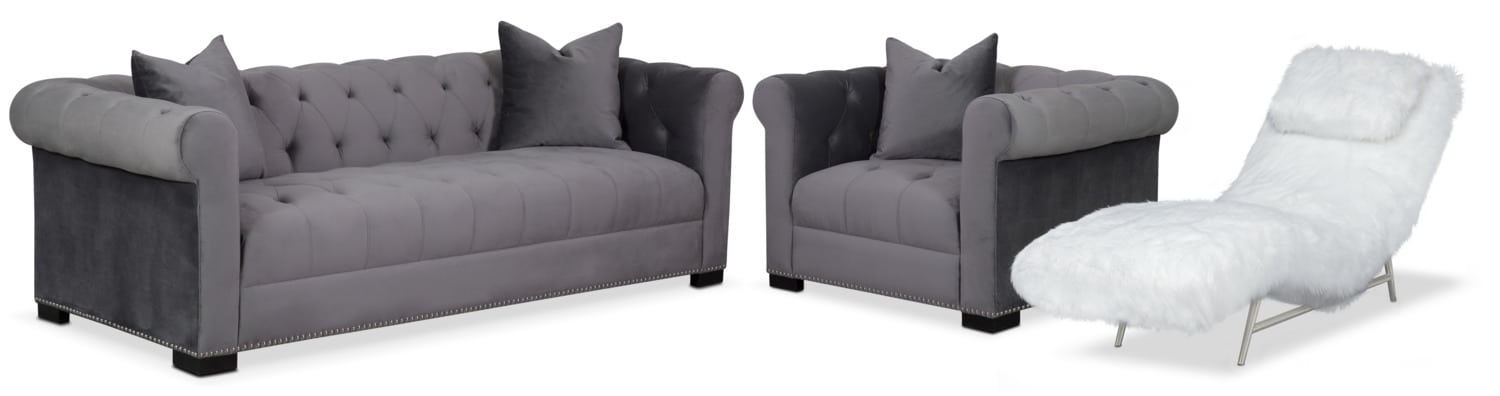 Couture Sofa, Chaise and Chair Set - Gray and White