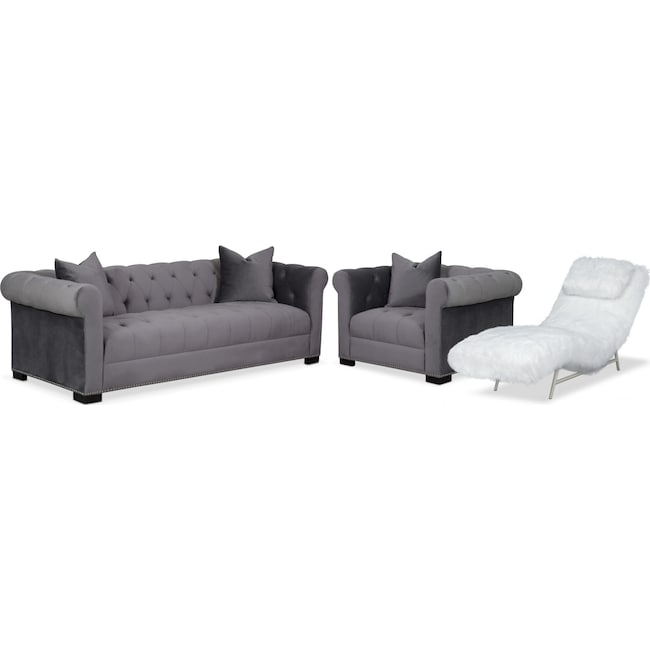 Couture Sofa, Chaise and Chair Set - Gray and White | American ...