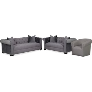 Couture Sofa, Apartment Sofa and Swivel Chair Set - Gray