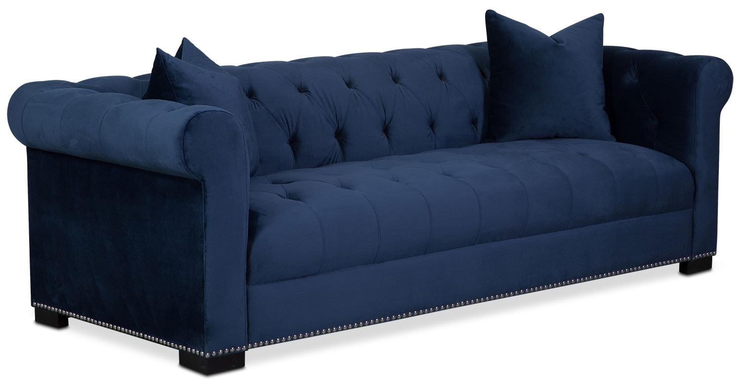 couture sofa, chair and swivel chair set - indigo | american
