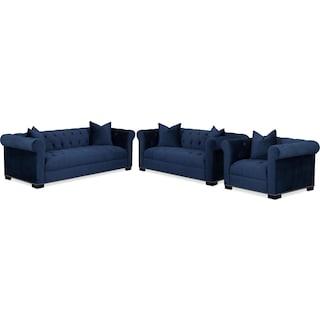 Couture Sofa, Apartment Sofa and Chair Set - Indigo