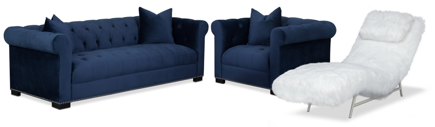 Couture Sofa, Chaise and Chair Set - Indigo and White