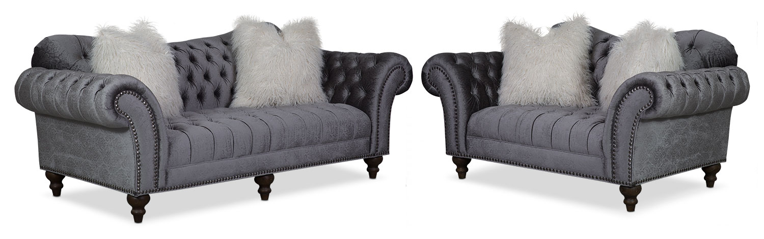 Living Room Furniture - Brittney Sofa and Loveseat Set