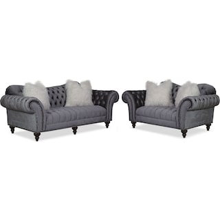 Brittney Sofa and Loveseat Set - Charcoal