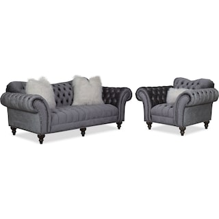 Brittney Sofa and Chair Set - Charcoal