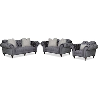 Brittney Sofa, Loveseat and Chair Set - Charcoal