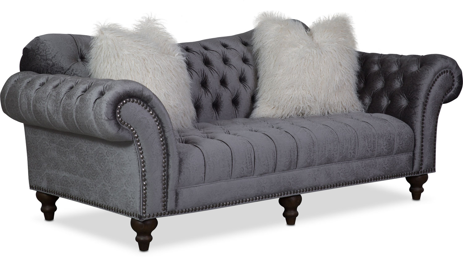 Brittney Sofa Loveseat And Chaise Set Charcoal