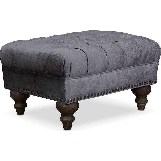 Living Room Furniture - Brittney Ottoman - Charcoal