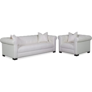 Couture Sofa and Chair Set - White