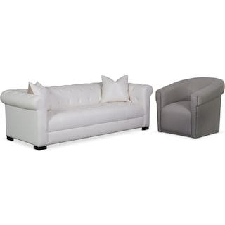 Couture Sofa and Swivel Chair Set - White