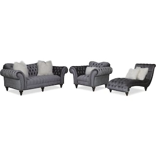 Brittney Sofa, Chair and Chaise Set - Charcoal
