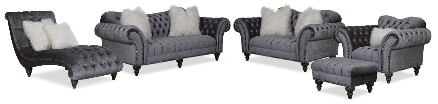 The Brittney Living Room Collection - Charcoal