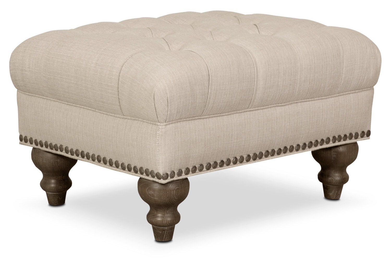 Brittney Ottoman - Linen
