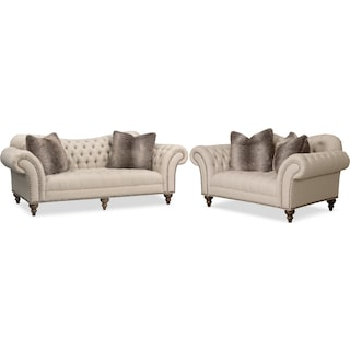 Brittney Sofa and Loveseat Set - Linen