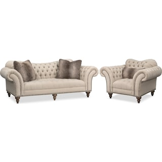Brittney Sofa and Chair Set - Linen