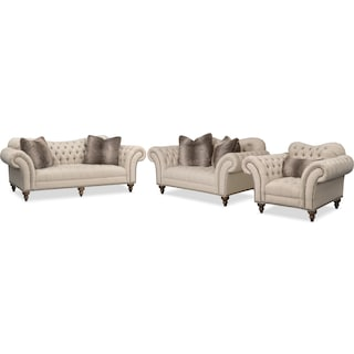 Brittney Sofa, Loveseat and Chair Set - Linen
