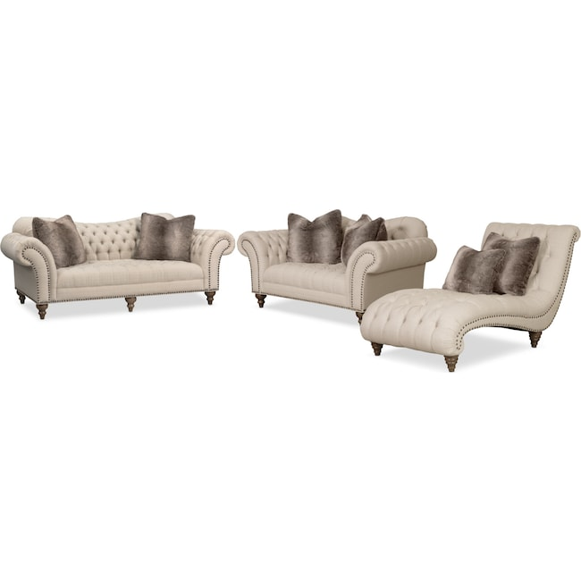 Living Room Furniture Brittney Sofa Loveseat And Chaise Set Linen