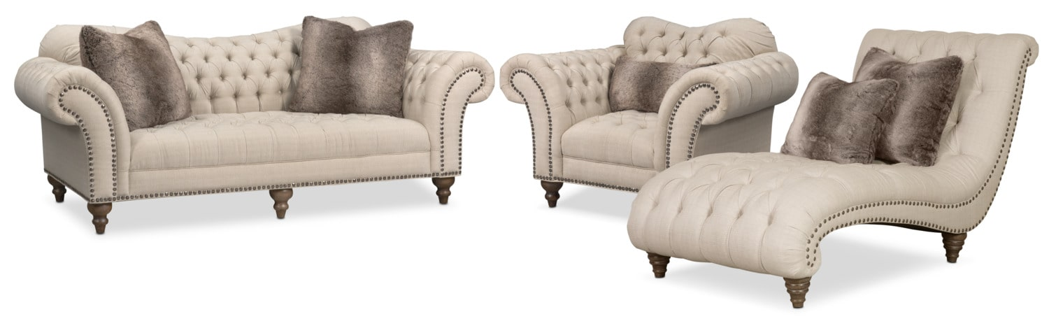 Brittney Sofa  Chair and Chaise Set   Linen. Brittney Sofa  Chair and Chaise Set   Linen   American Signature