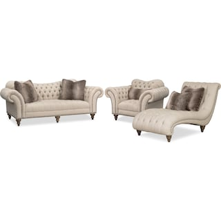 Brittney Sofa, Chair and Chaise Set - Linen