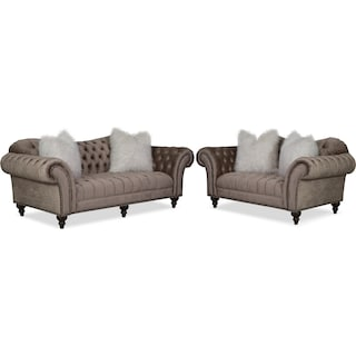 Brittney Sofa and Loveseat Set - Champagne