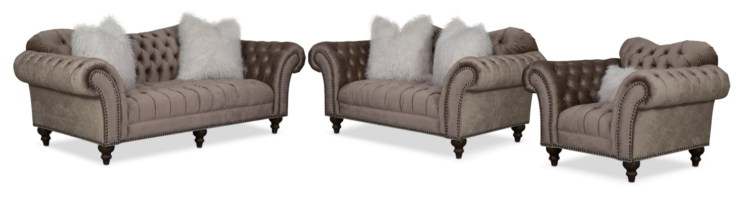 Brittney Sofa, Loveseat and Chair Set - Champagne