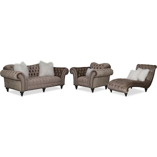 Brittney Sofa, Chaise and Chair Set - Champagne
